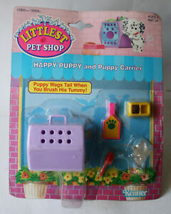 VINTAGE 1992 LITTLEST PETSHOP HAPPY PUPPY AND CARRIER KENNER NEW MISSES PUPPY