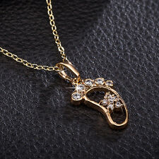 Fashion Women Gold Plated Foot Rhinestone Chain Pendant Necklace Charm Jewelry