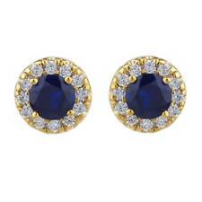 14Kt Gold 1 Ct Blue Sapphire Halo Design Stud Earrings