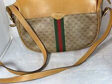 Authentic Vintage Gucci Shoulder Bag GG Monogram Brown Red/Green Stripe