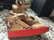 Cole Haan Paley High Wedge Yellow Snake Embossed Leather Sandal Size 8.5