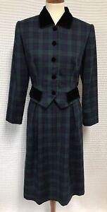 Vintage Talbots Petites 10 Blackwatch Plaid 2 PC Suit Blazer Skirt Velvet Trim