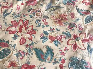 Sanderson  Fabric ' Brockton' Gold Cotton Teal/Green/Crimson Floral FQ 46x56cm