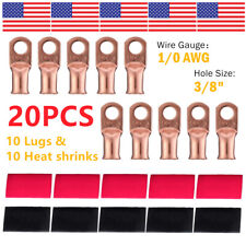 (10) 1/0 AWG Gauge Copper Lugs w/ RED & BLACK Heat Shrink Ring Terminals