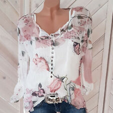 Women Summer Long Sleeve Chiffon V Neck Floral Print Blouse Casual Loose T Shirt