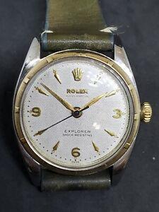 1950 Rolex Explorer Big Bubbleback Ovettone Ref.6299 / 6298 White Honeycomb Dial