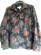 Caribbean Joe ladies shirt blouse top black tropical L soft stretchy long sleeve