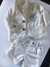 Roberto Cavalli Baby Anzug Größe 74-9 Monate Cremeweiß *Samt*Taufe*Hochzeit*Fest
