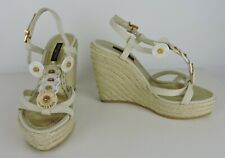 Louis Vuitton Beige & Gold Trunks Bags Platform Espadrilles Euro Size 36 Spain