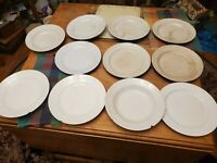 Lot of 11 Very old 1800s white ironstone plates bowls. all chipped or cracked