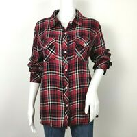 Rails Kendra Flannel Button Up Shirt Medium Wine Red Blue White Plaid Rayon Top