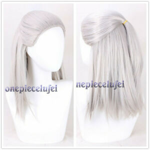Game The Witcher Geralt of Rivia Cosplay Wig Sliver Long Straight Hair Full Wigs