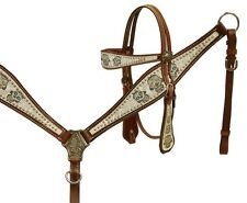 Showman Leather Bridle & Breast Collar Set w/ Sugar Skull Print! NEW HORSE TACK!