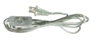 Inline Toggle Switch Replacement Lamp Cord, SPT-1 with Molded Plug, 8 Foot