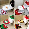 3Pcs Set Christmas Snowman Santa Toilet Seat Cover Rug Bathroom Mat Xmas Decor