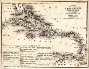 West Indies Antique Map Mitchell's New Intermediate Geography Circa 1870's