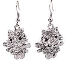New Silver Crystal Silver Tone Kitty Cat Hook Dangle Drop Earrings