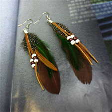 Tassel Dangling Earrings Feather Leather Beads Earrings Indian Feathers TSCA