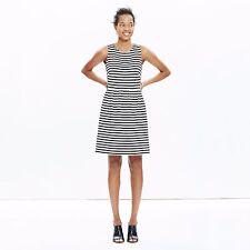 Madewell J Crew~Afternoon Dress in Stripe Black White Sleeveless~XL~NWT  BC