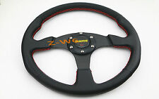 FLAT DISH 350MM 6 HOLE LEATHER & RED STITCH RACING JDM STEERING WHEEL & HORN