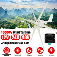 4600W 6 Blade 12/24/48V Wind Turbine Generator Battery Charge DC Controller Home