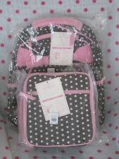 NEW Pottery Barn Kids SMALL CHOCOLATE PINK DOT Backpack  + CLASSIC LUNCH BAG !