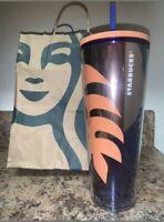New Starbucks 2020 Summer 2 Peach 🍑 Purple Leaf 🍂 24oz Tumbler