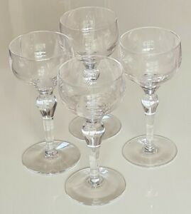 Vintage Four Stuart Crystal 'Woodchester' Tall Wine/Hock Glasses 170mm High