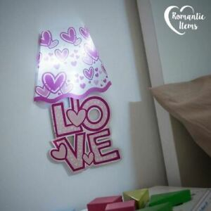 Set of 2, Love Wall Stickers 3D Lamp with LED Night Light  Removable Decal Room