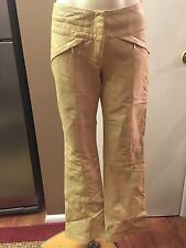Cache ~ Sexy Buttery Soft Tan Leather Pants w/ Gold Hardware ~ Size 2