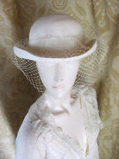 61c992f611c NANCY Vintage 1920s Style Classic Creme Straw Hat With Netting Accent