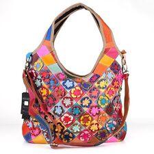 Ital. Leder Schulter Geflochten Tasche Shopper Patchwork Blumen Bunt Vintage ***