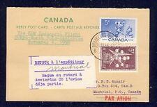 51427) KLM Polar FF Tokio - Amsterdam  4.11.58, Canada reply card via Brüssel