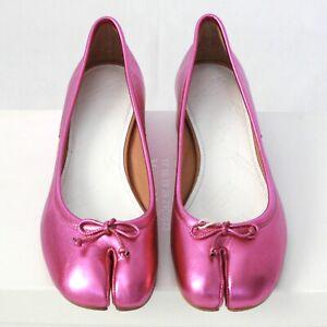 MAISON MARTIN MARGIELA split toe metallic pink heels leather tabi shoes 35 NEW
