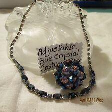 Vintage Sapphire Ice Blue Rhinestone Silver-tone Necklace Adj. Ring Jewelry Lot