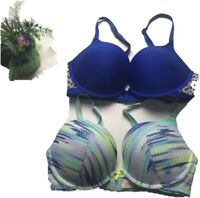 Lot 2 Victoria's Secret Push Up Pink Bra Size 34D Cleavege Pushup Lace Blue