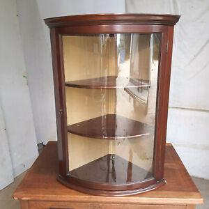 antique,edwardian,mahogany,bow front,glazed,corner cabinet,shelves,cabinet,bow