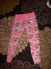 """luck panther womens fitness leggings sz L pink floral 28"""" waist not stretched"""