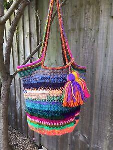 Handmade Crochet women/ladies handbag, beach tote bag,granny square, New