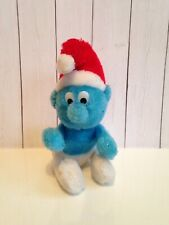 "Vintage little Stuffed Plush toy Christmas red hat Smurf-Holiday-PEYO-6""-Berrie"
