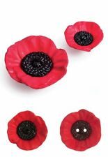 Red Poppy Single Buttons Two Hole or Shank 20mm 28mm 41mm Remembrance Day