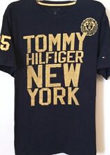 TH85 TOMMY HILFIGER New York BIG SpellOut Tshirt HIPHOP Navy Blue Yellow L EUC
