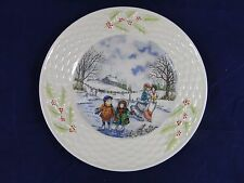 RARE BELLEEK CHRISTMAS PLATE 1994 4th Edition Holiday Scenes Ice Skaters