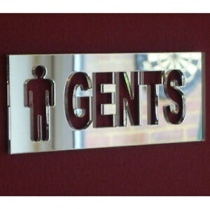 Gents Toilet WC Sign Acrylic Mirror (Several Sizes Available)