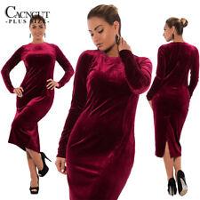 Women Winter Plus size Velvet dress Casual  Long Sleeve elegant Bodycon dresses