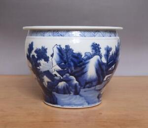 Antique Chinese Blue & White Porcelain Brush Washer w/ Landscape