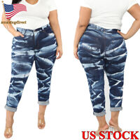 Womens Ripped Jeans Denim Pants High Waist Stretch Trousers Jeggings Plus Size