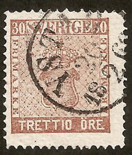 Suède: Yvert N° 10 (1858-70) perf 14 used,very fine, cat val 40€