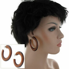 "Lucite Faux Tortoise Brown Large Pierced Hoop Earrings 2 1/4"" Surgical Steel"