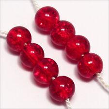 Lot de 50 Perles Craquelées en Verre 6mm Rouge